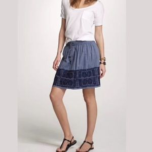 J. CREW Zafrina Chambray Embroidered Skirt Blue